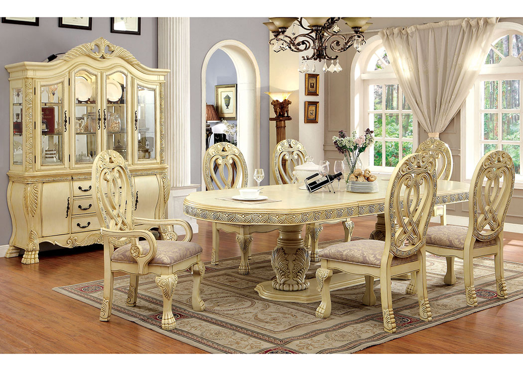 Wyndmere White Dining Table w/4 Side Chairs & 2 Arm Chairs,Furniture of America