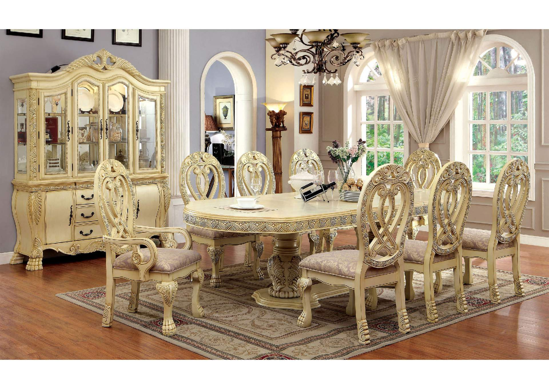 Wyndmere White Dining Table W 6 Side Chairs 2 Arm ChairsFurniture Of
