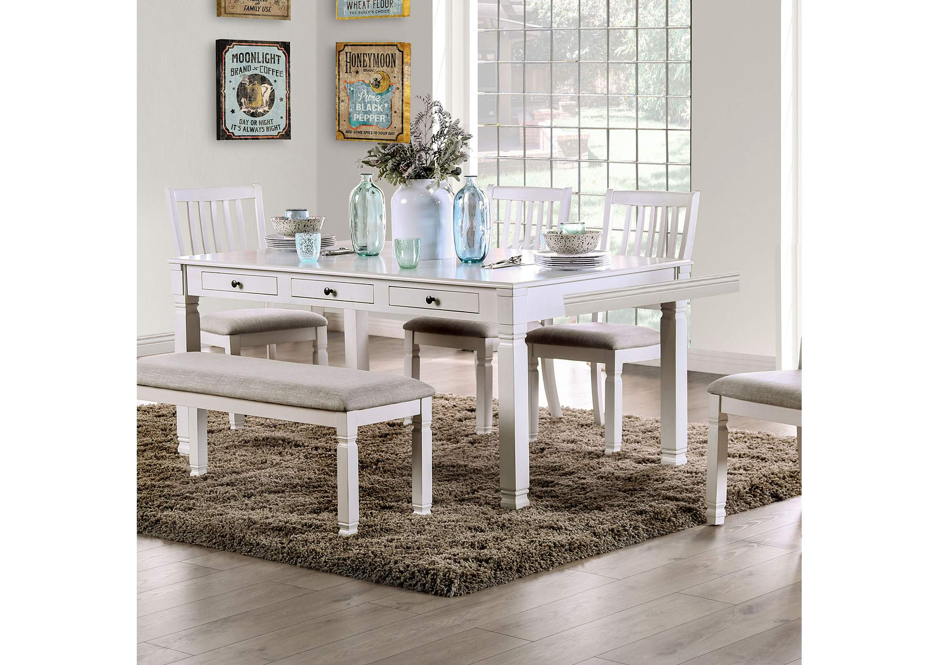 Kaliyah Antique White Dining Table w/2 Storage Drawers,Furniture of America
