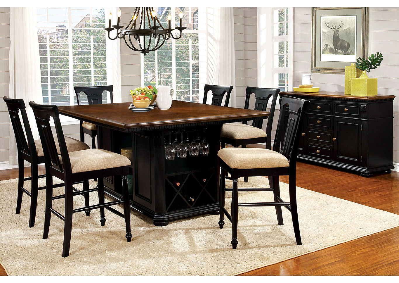 Exceptionnel Sabrina Cherry And Black Counter Height Table W/6 Counter Height Chairs, Furniture Of