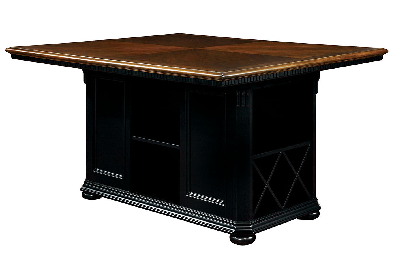 Sabrina Cherry & Black Counter Height Table,Furniture of America