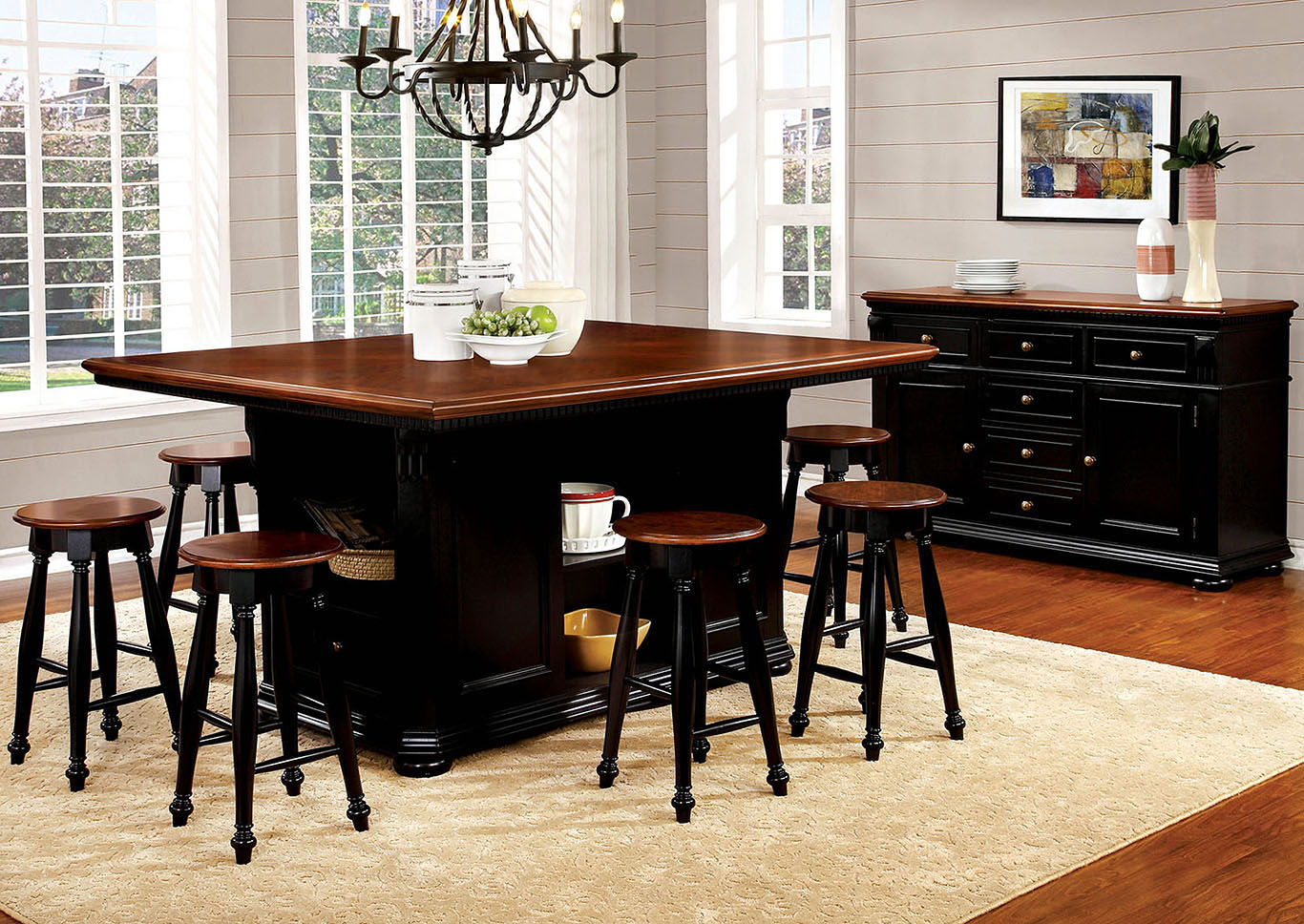 Sabrina Cherry and Black Counter Height Table w/4 Counter Height Stools,Furniture of America