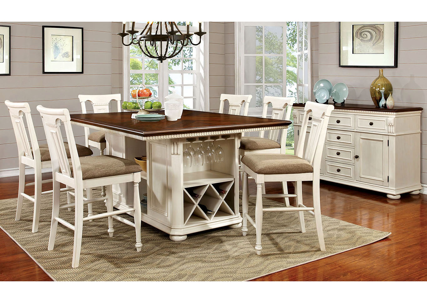 Exceptionnel Sabrina Cherry And White Counter Height Table W/6 Counter Height Chairs, Furniture Of
