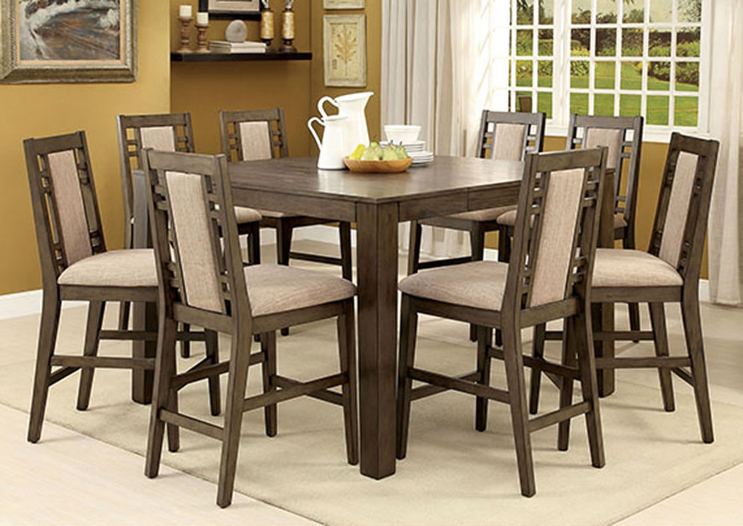 Eris II Gray Counter Height Table W/6 Counter Height Chairs,Furniture Of  America