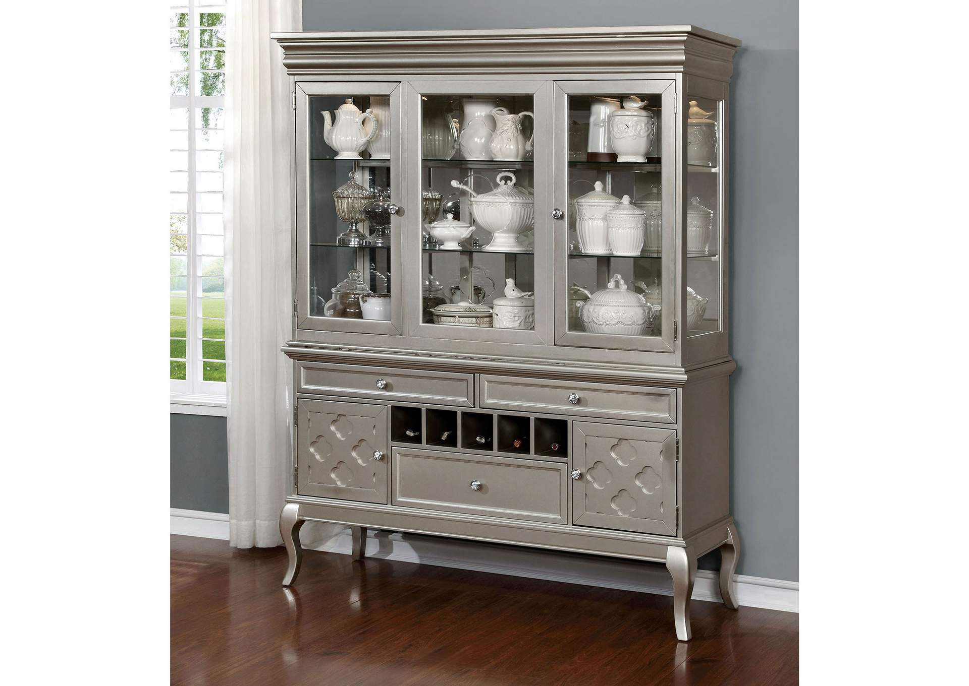 Amina Champagne Hutch & Buffet,Furniture of America