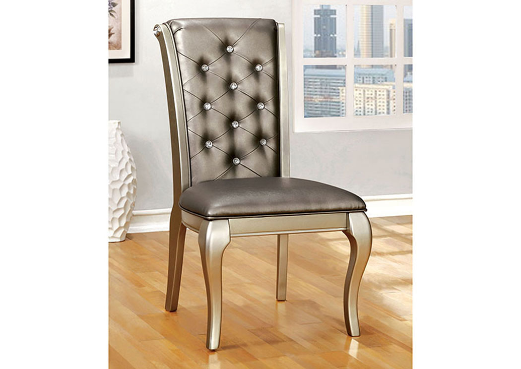 Amina Silver Side Chair (Set of 2),Furniture of America