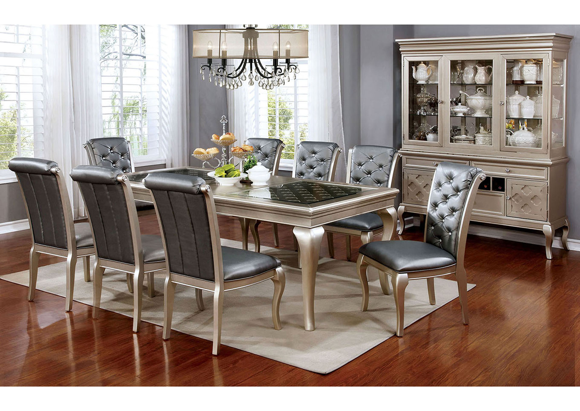 silver dining room set Moreno Valley Furniture Amina Silver Dining Table w/Glass Inserts silver dining room set