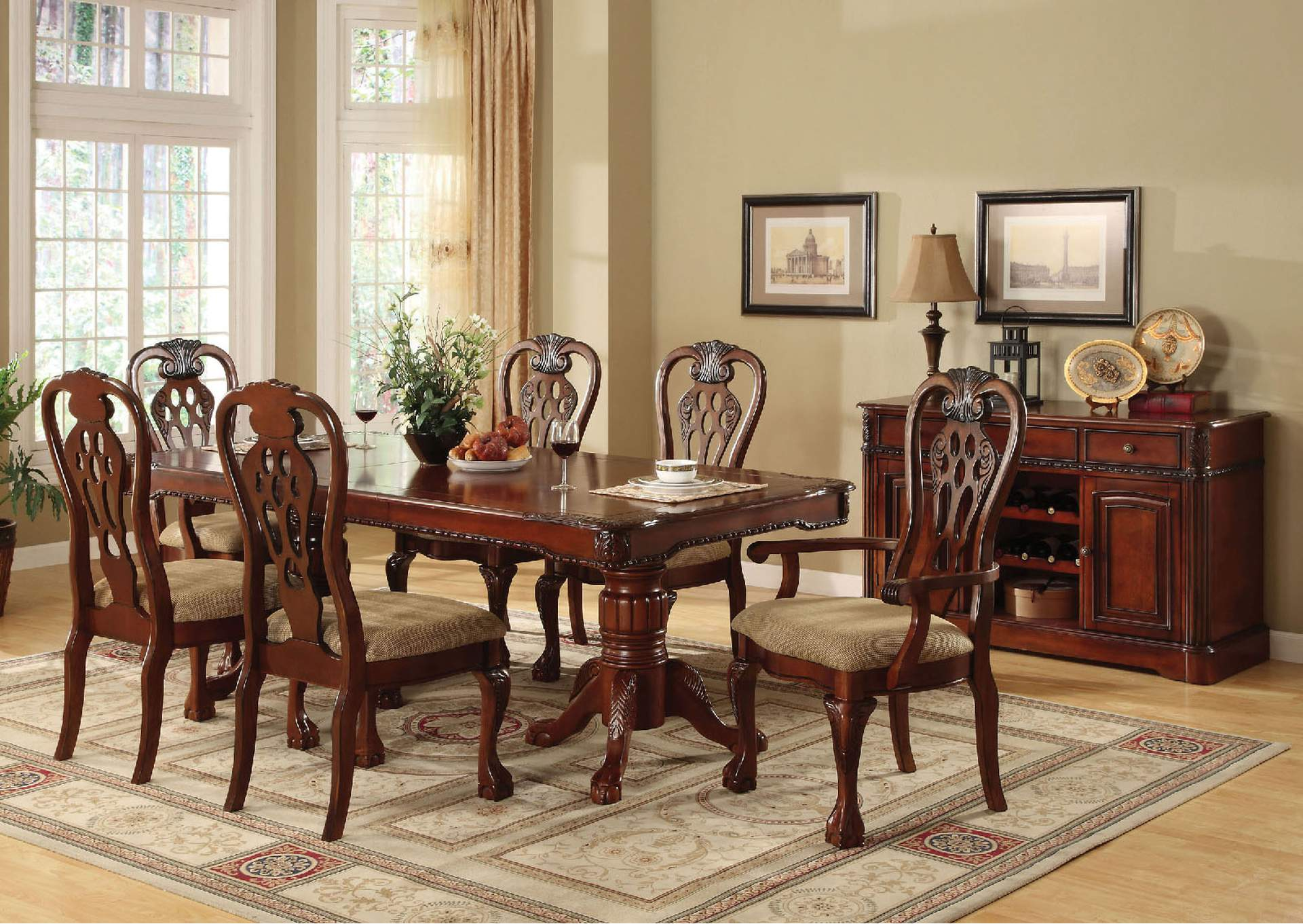 George Town Cherry Extension Dining Table w/4 Side Chairs,Furniture of America