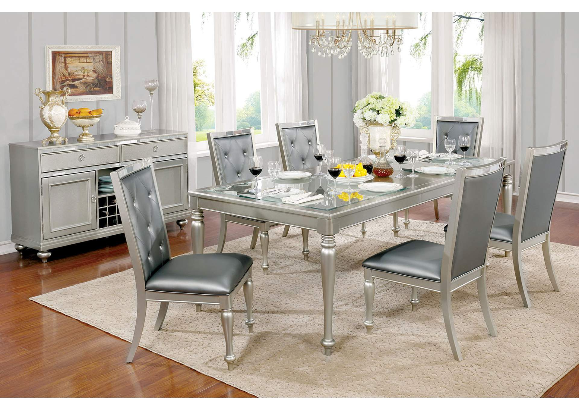 Sarina Silver Gray Glass Top Dining Table w/18