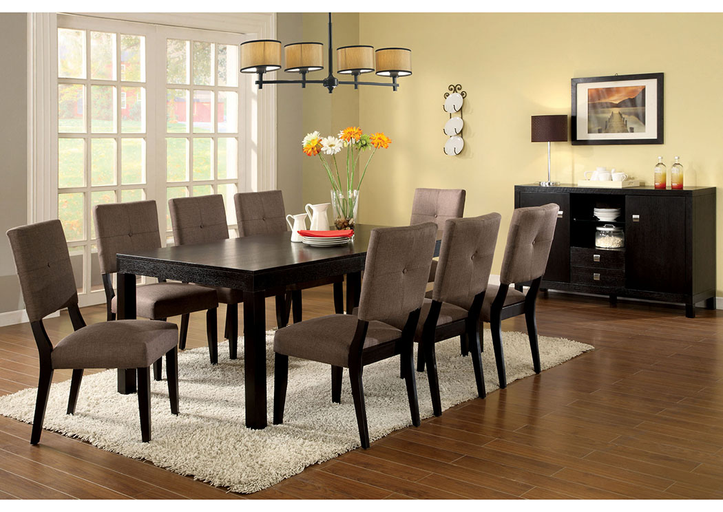 Bay Side I Espresso Dining Table w/6 Side Chairs,Furniture of America