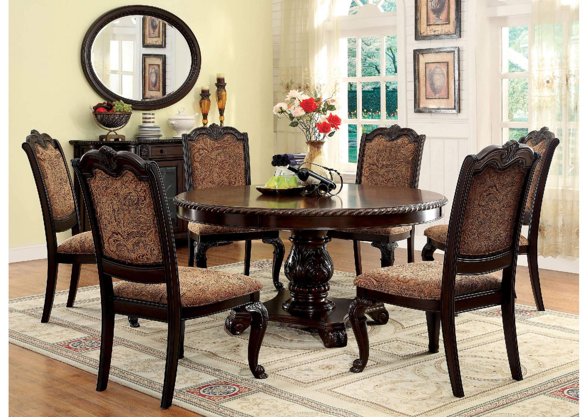 Good Bellagio Round Dining Table W/6 Side Chairs,Furniture Of America