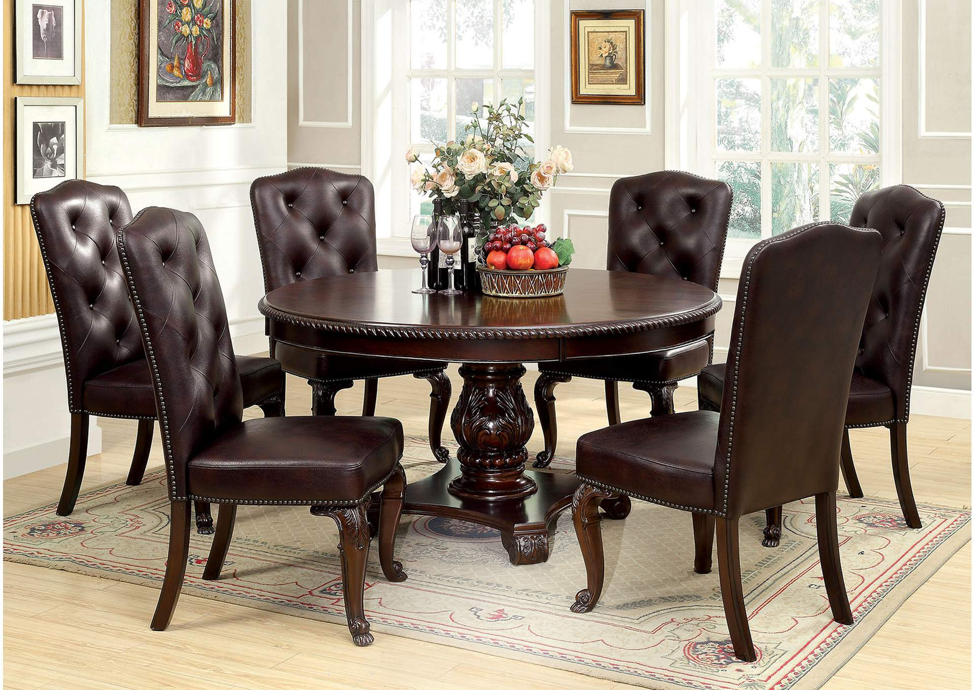Bellagio Round Dining Table w/6 Leatherette Side Chairs,Furniture of America