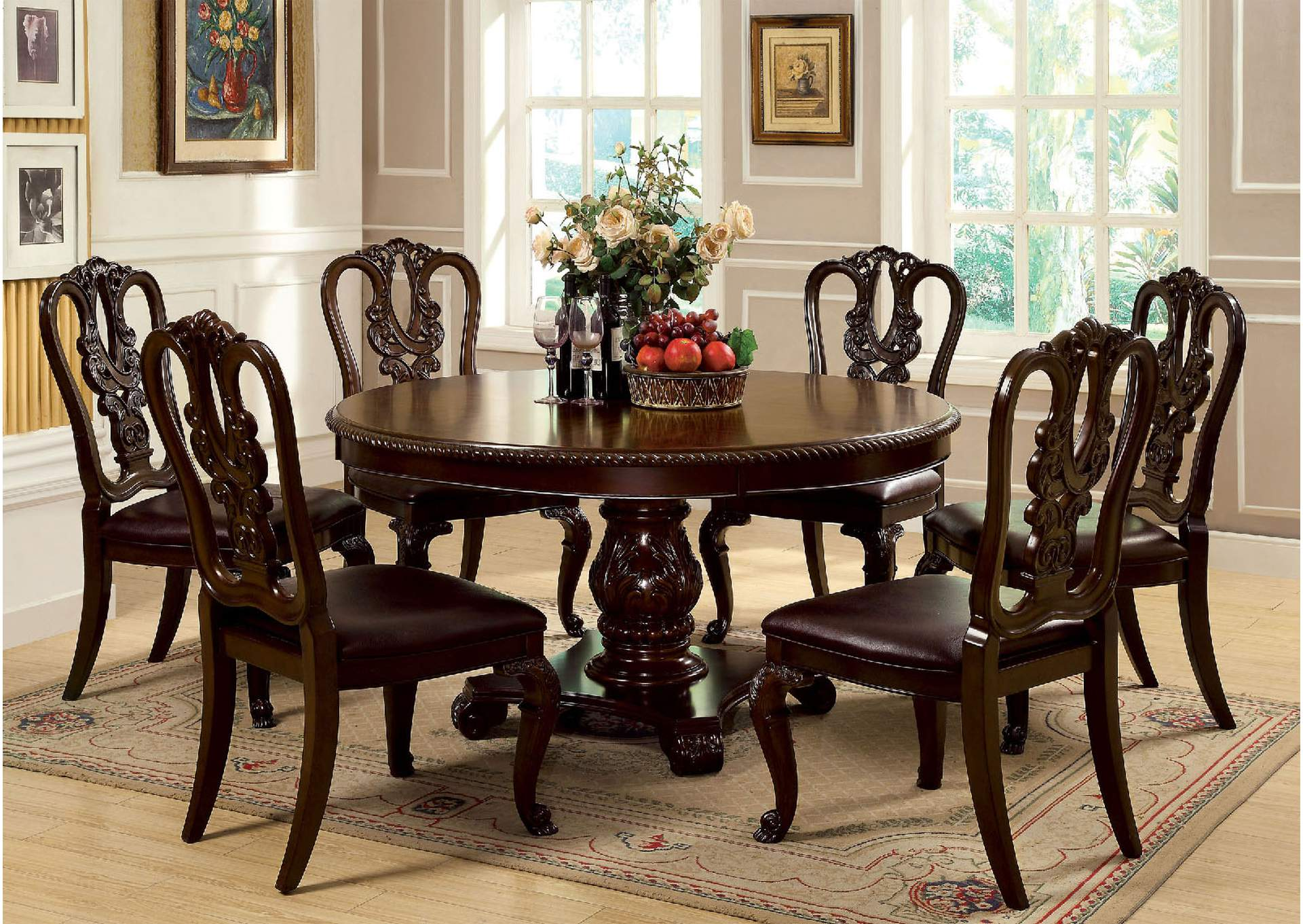 Noguez Home Furniture Bellagio Round Dining Table w/6 Wooden ...