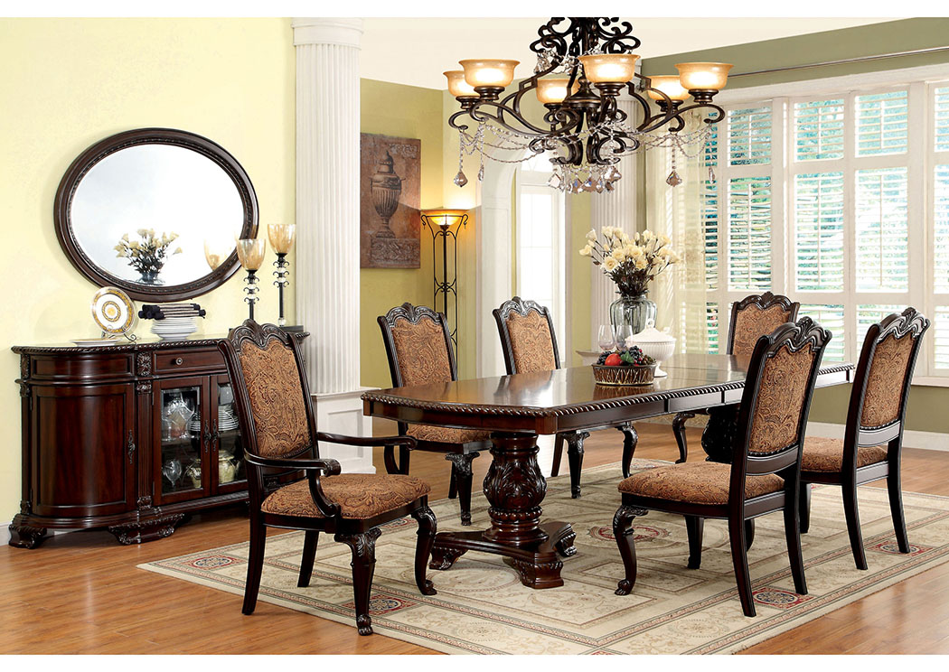 2fa1cf1d469 Bellagio Brown Cherry Extension Dining Table w 4 Side Chairs   2 Arm Chairs