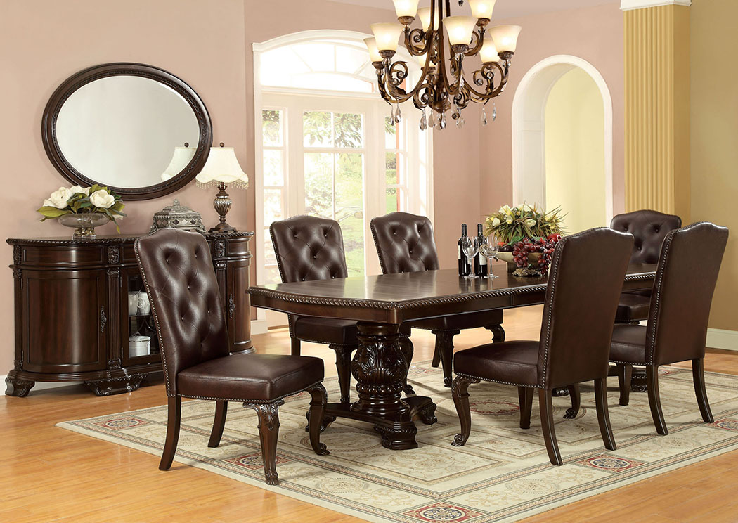 Bellagio Extension Dining Table w/6 Leatherette Side Chairs,Furniture of America