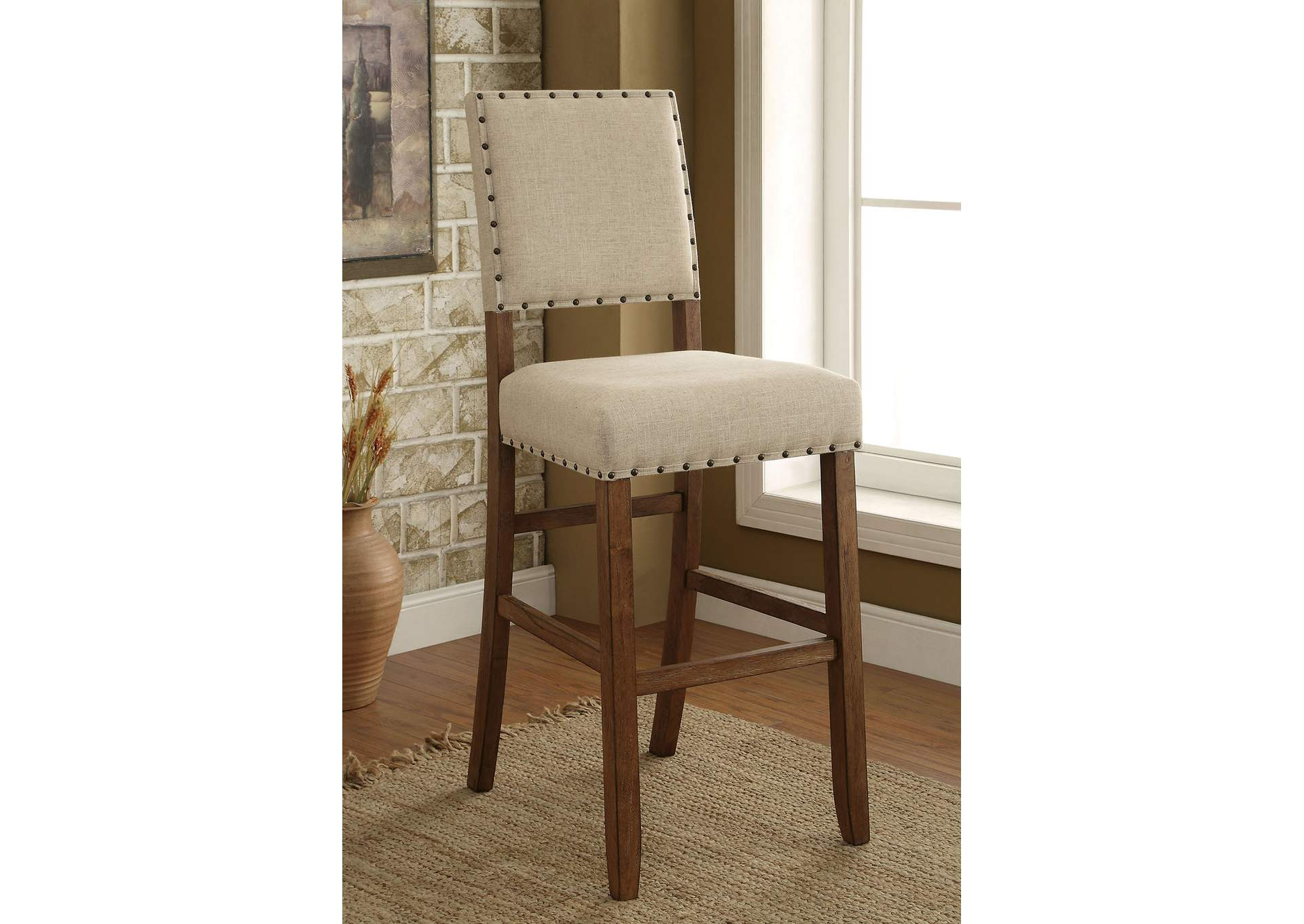 Sania II Rustic Oak/Ivory Upholstered Counter Height Chair (Set of 2),Furniture of America