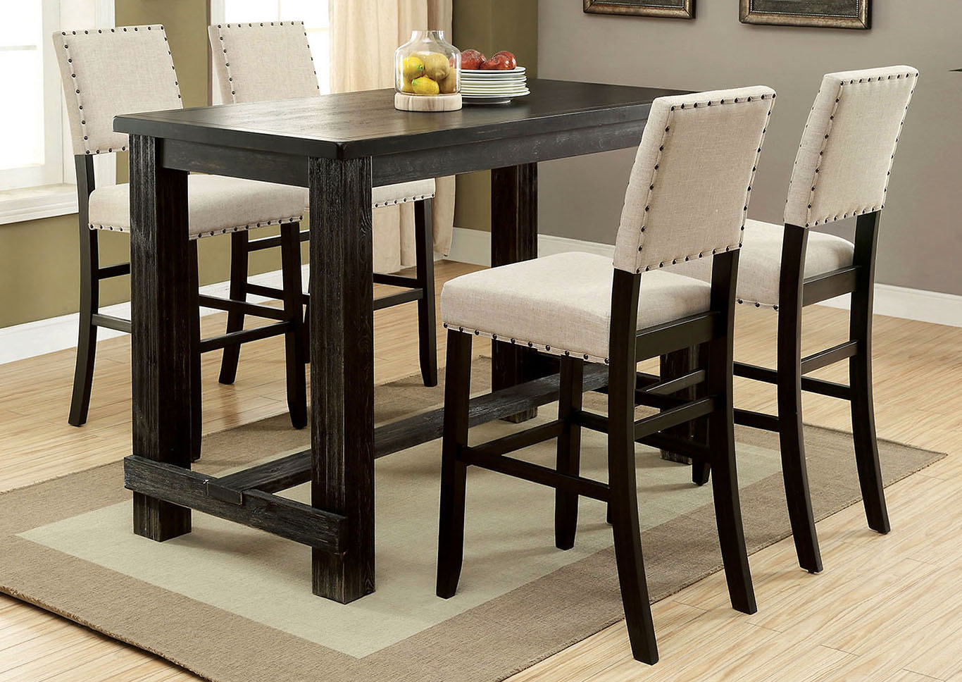 Ordinaire Sania Antique Black Counter Height Table W/4 Counter Height Chairs,Furniture  Of America