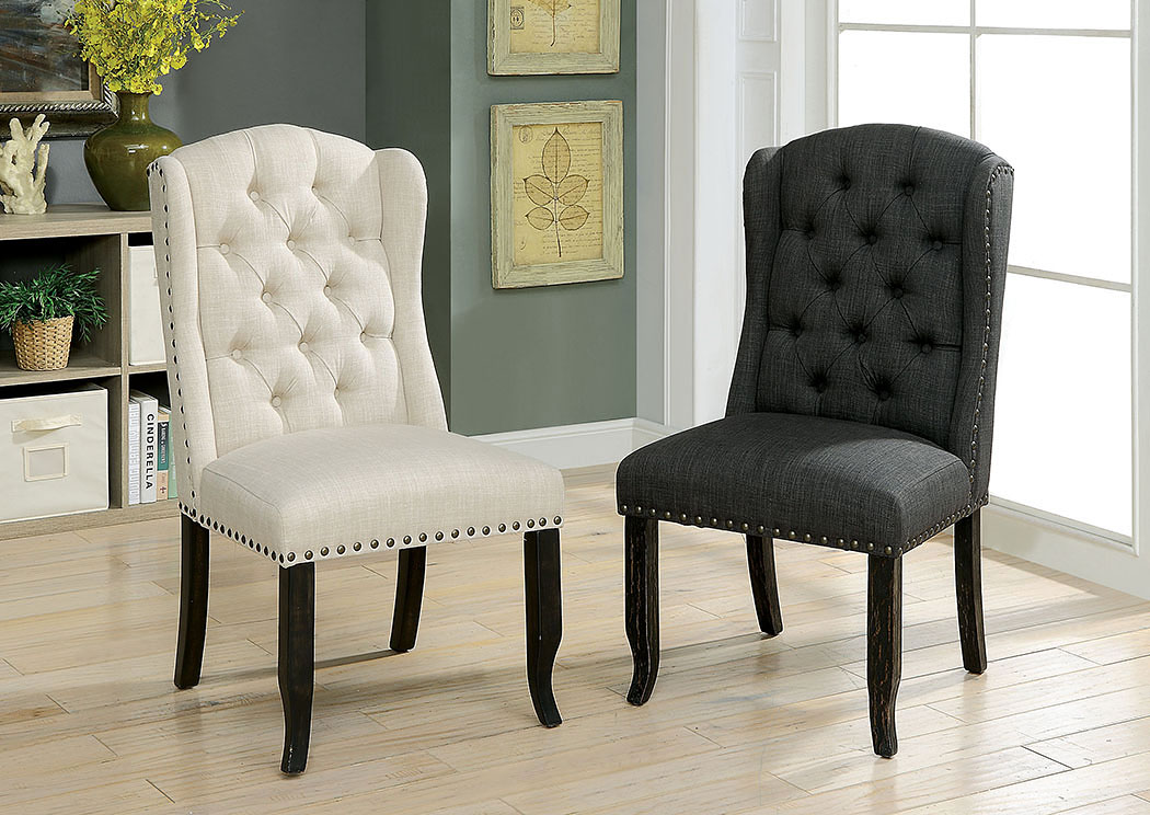 Sania I Antique Black/Gray Upholstered Side Chair (2/Box),Furniture of America