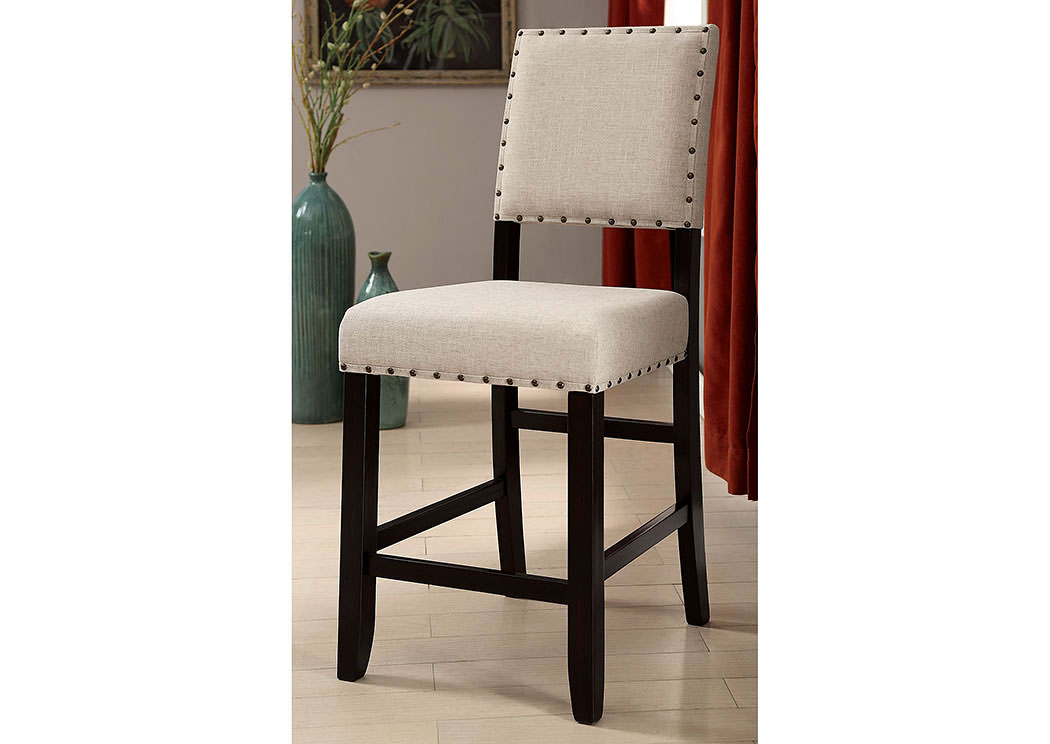 Sania II Antique Black/Beige Counter Height Chair (Set of 2),Furniture of America