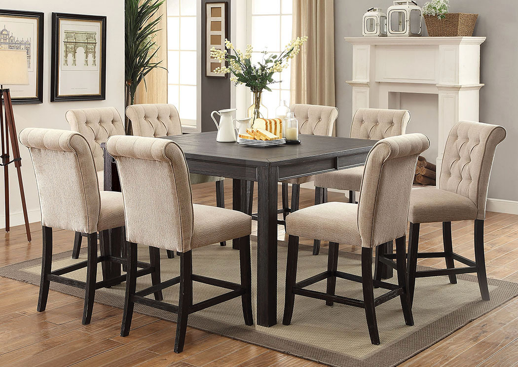 Sania III Antique Black Counter Height Table,Furniture of America