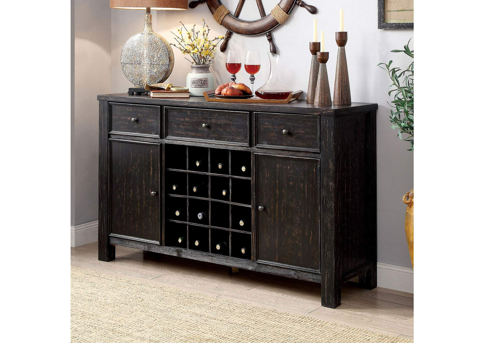 Sania I Antique Black Server,Furniture of America TX