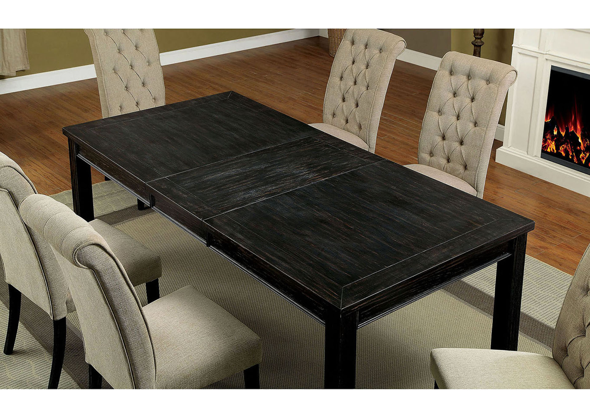 Sania I Antique Black Dining Table w/18