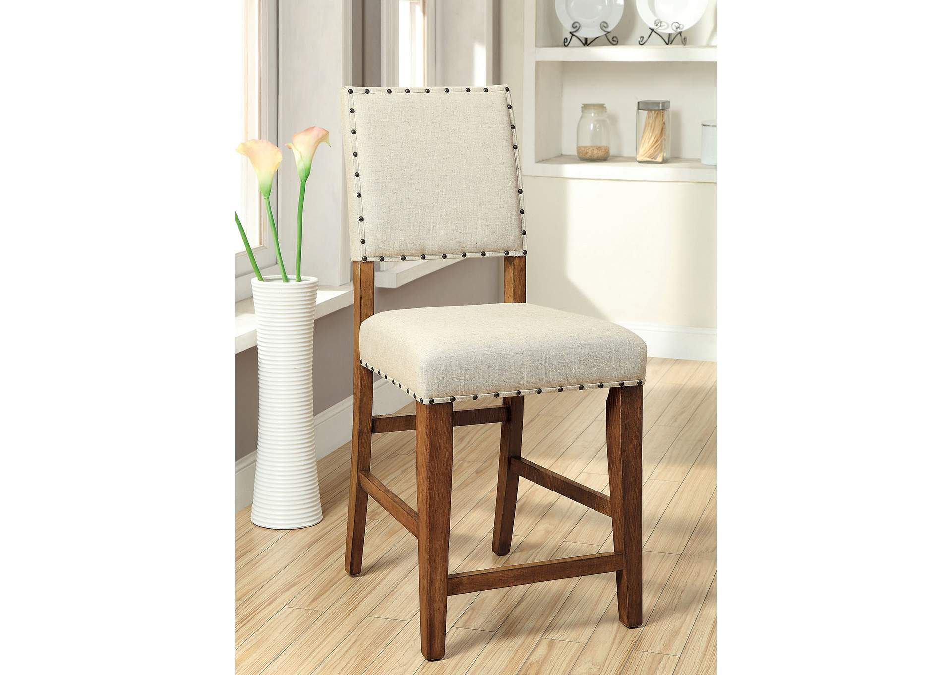 Sania Rustic Oak/Ivory Upholstered Counter Height Chair (Set of 2),Furniture of America