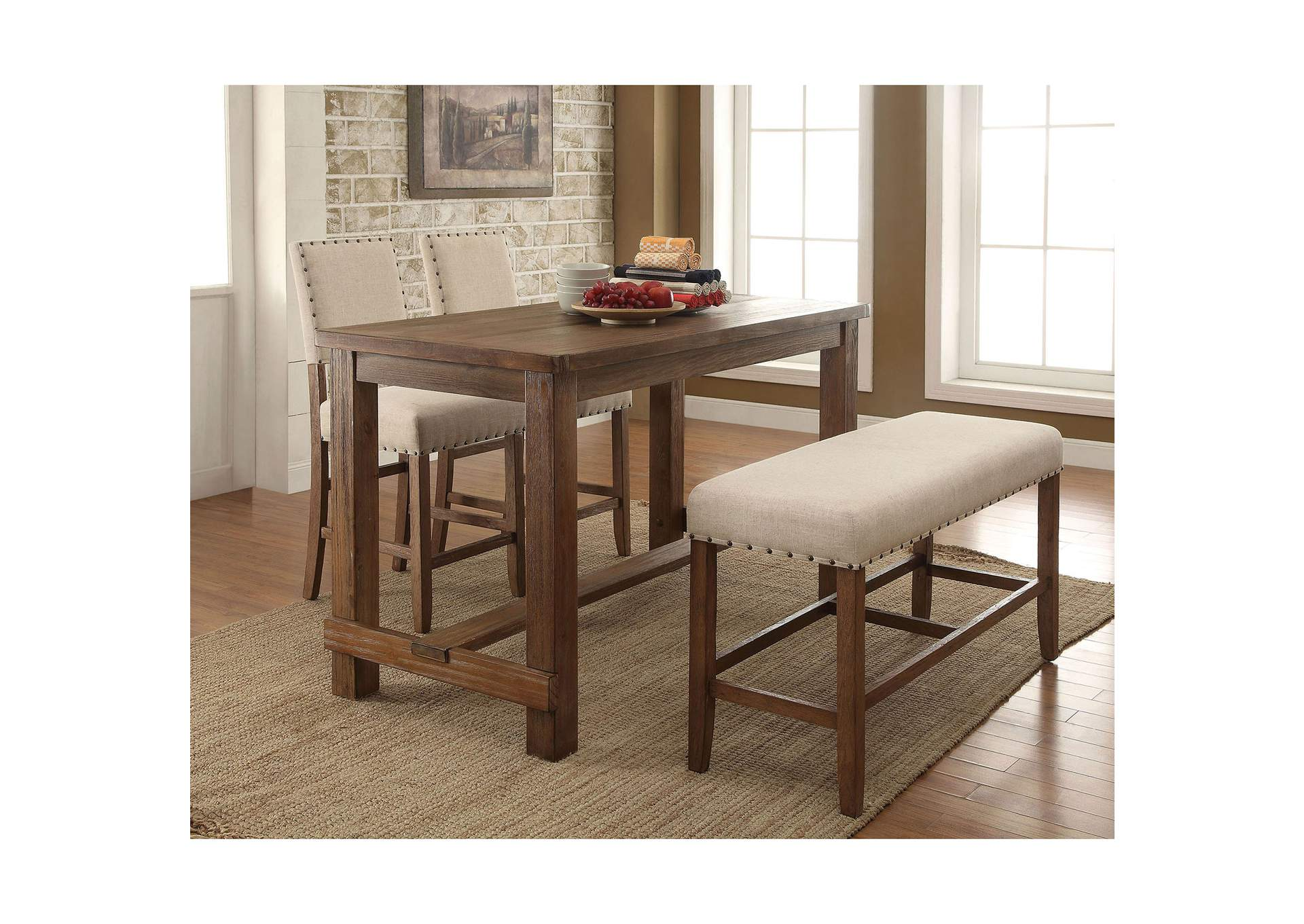 Sania Rustic Oak Counter Height Table W Bench And 2 Chairs Furniture