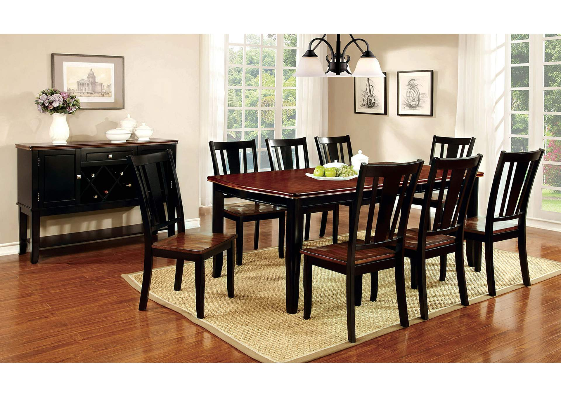 Dover Black & Cherry Extension Dining Table w/6 Side Chairs,Furniture of America