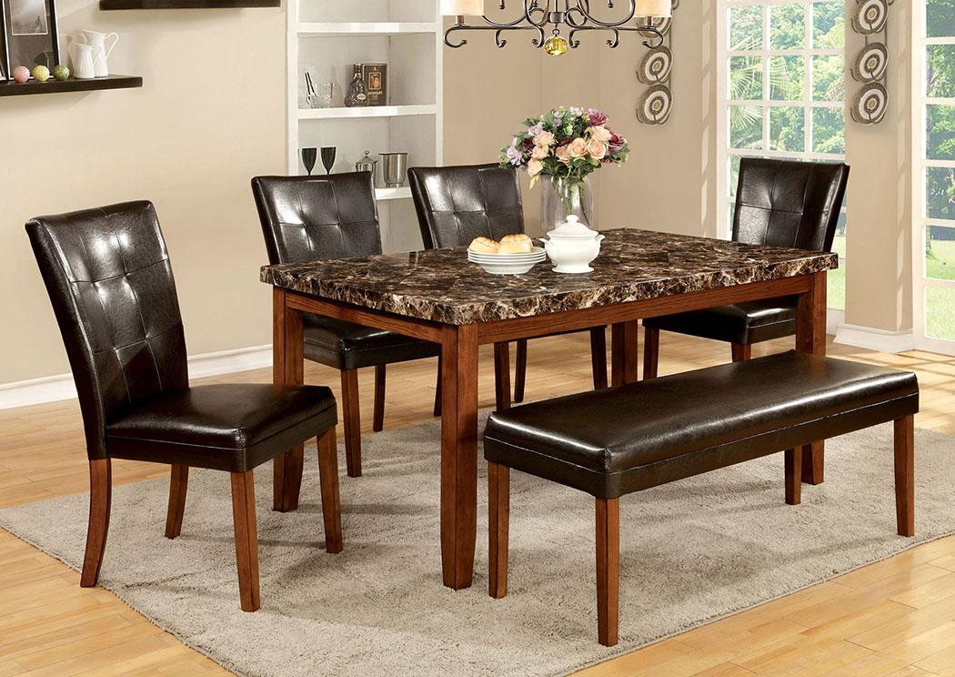 Peaceful Living Furniture Elmore Antique Oak Faux Marble Top Dining