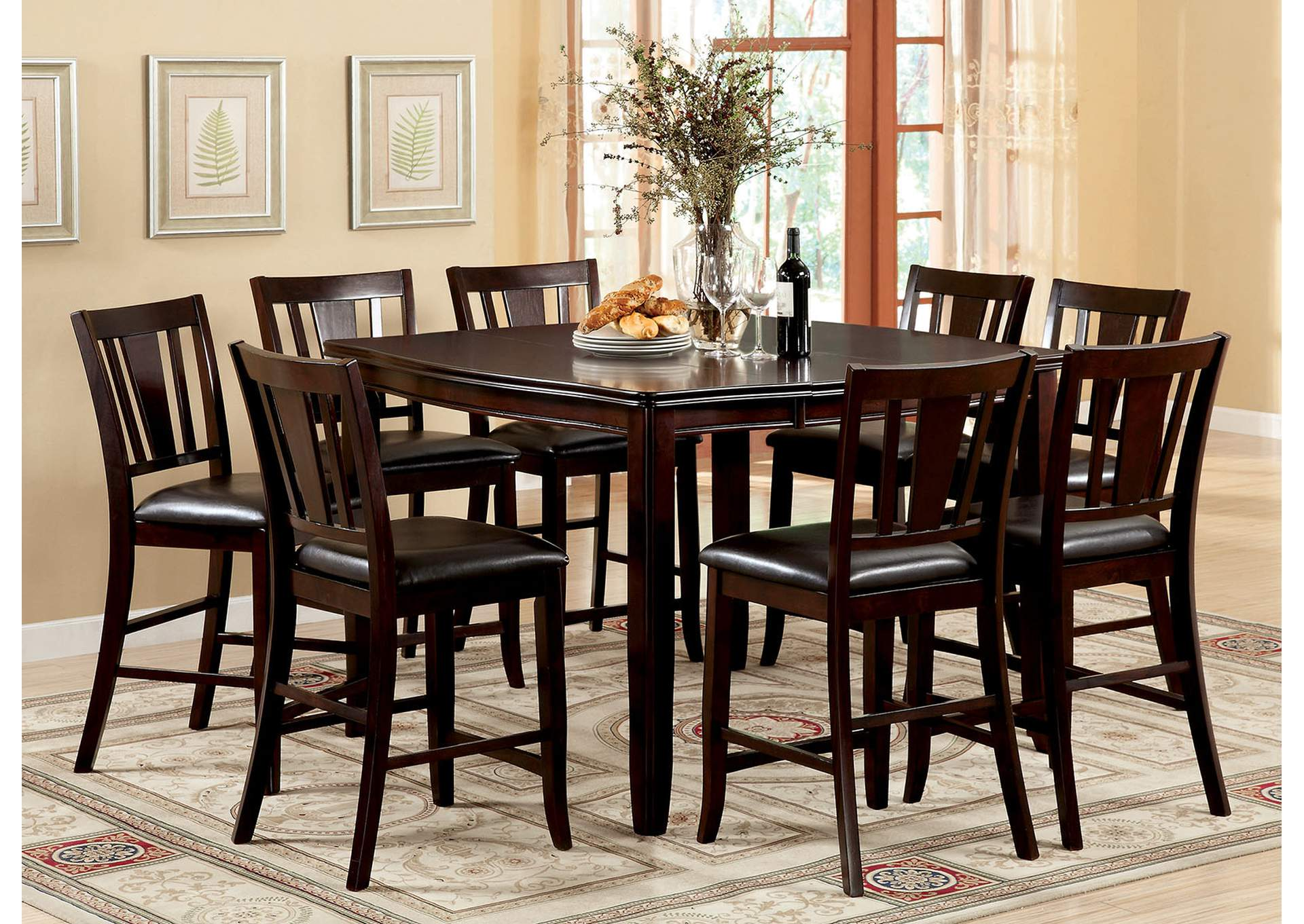 Edgewood Ll Espresso Extension Leaf Counter Height Table W/6 Counter Height  Chairs,Furniture