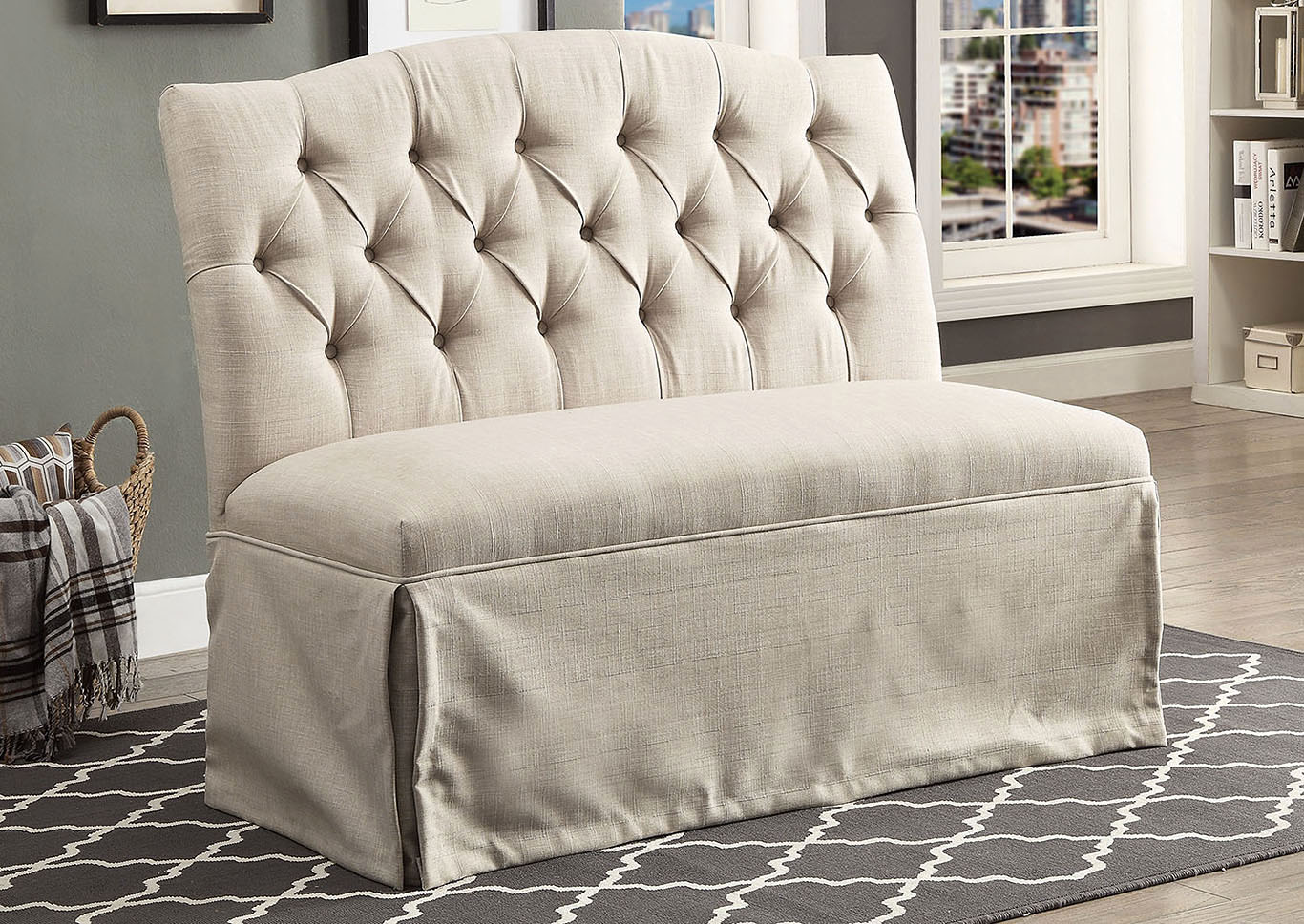 lucite grey bench velvet acrylic tv tufted loveseat legs nailhead