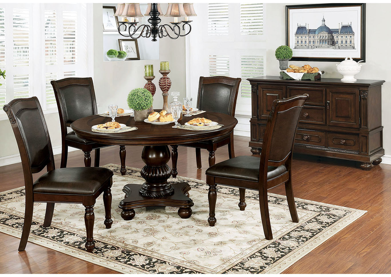 Alpena Brown Cherry Round Dining TableFurniture Of America