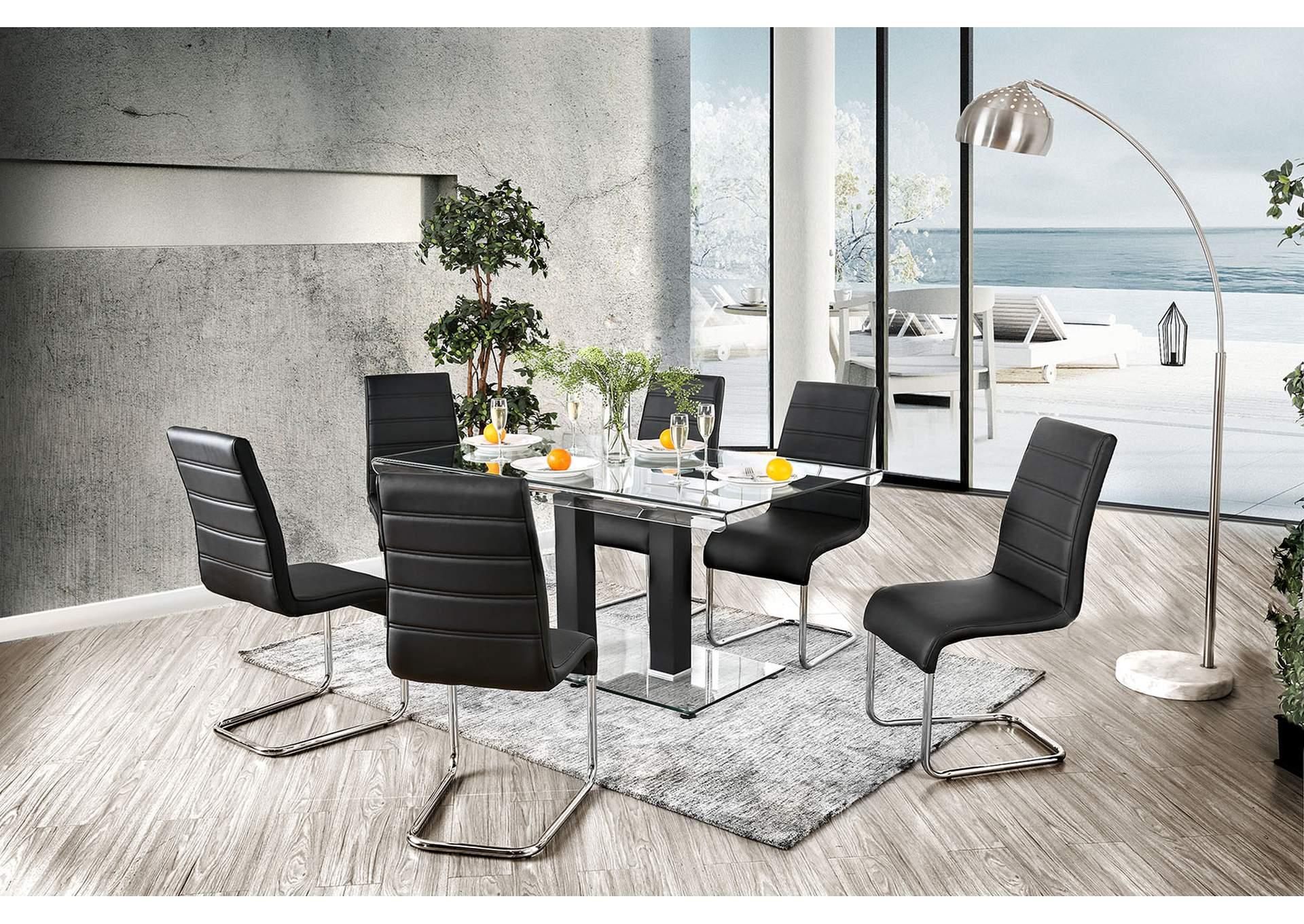 Richfield Black Glass-Top Dining Table,Furniture of America