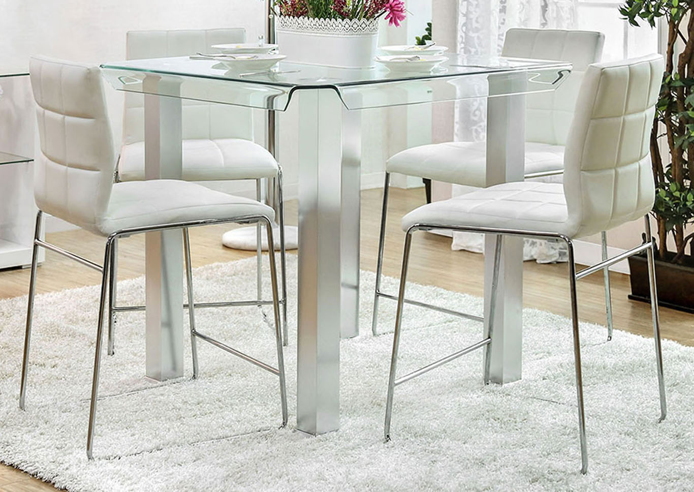 Richfield II Silver/Chrome Glass Counter Height Table,Furniture of America