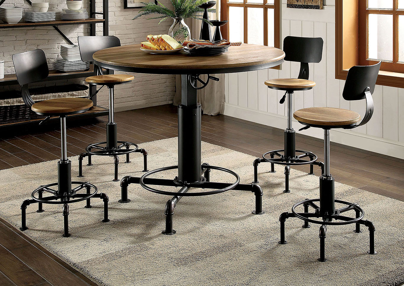 Fran Sand Black Dining Table w/Height Adjustable,Furniture of America