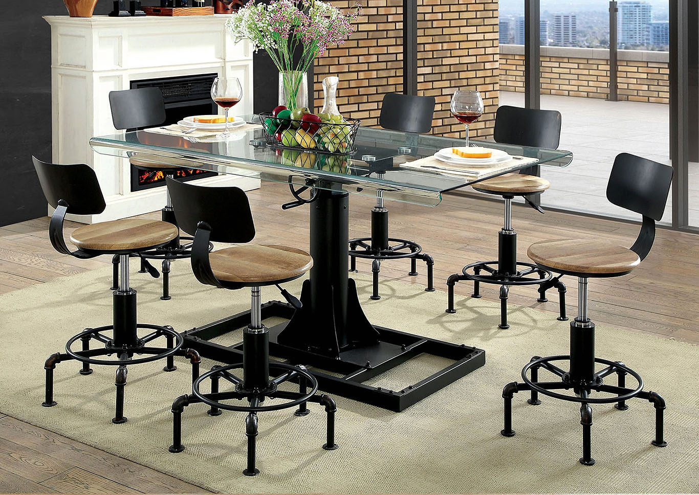 Killick Sand Black Dining Table w/10mm Beveled Glass Top,Furniture of America