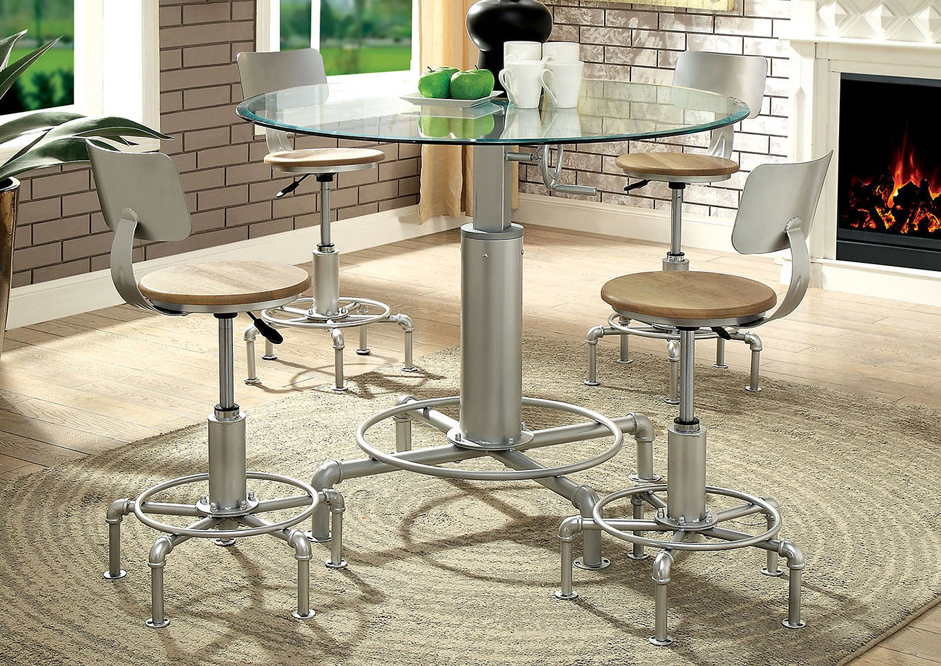 Helen Powder Coated Silver Metal Dining Table w/Glass Top,Furniture of America TX
