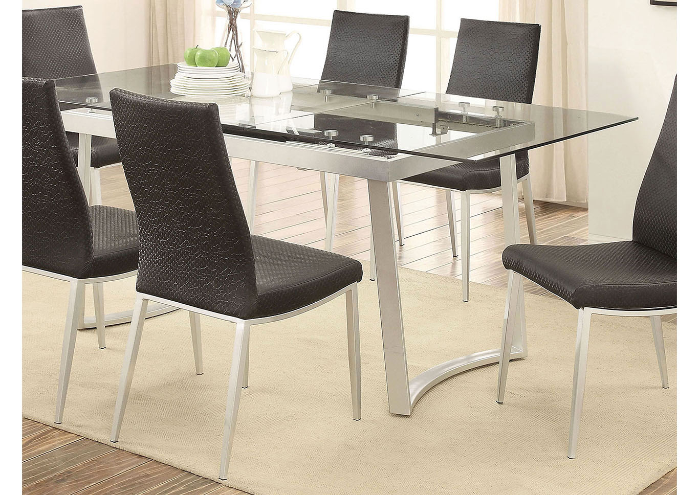 Mariam Silver Glass Top Extension Dining Table W 4 Side ChairsFurniture Of