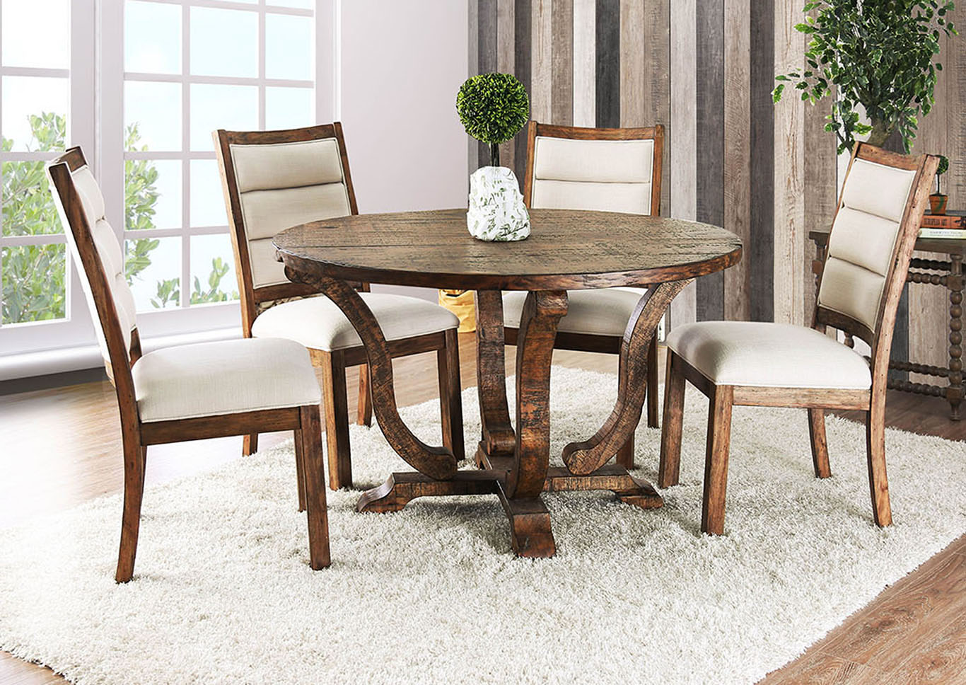 Isabelle Antique Oak Round Dining TableFurniture Of America