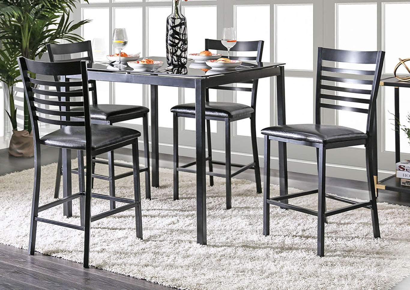Arwen Black Glass Top Counter Height Table,Furniture Of America