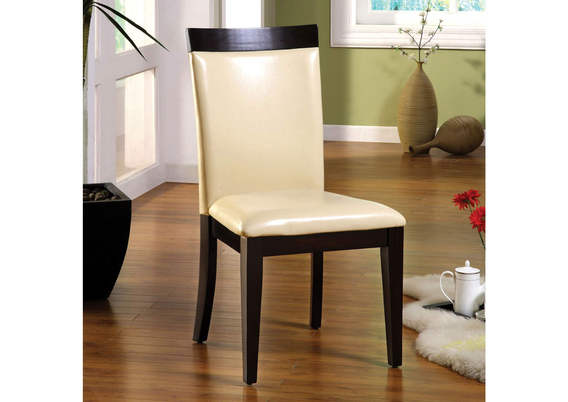 Downtown I Espresso/Ivory Leatherette Side Chair (Set of 2),Furniture of America