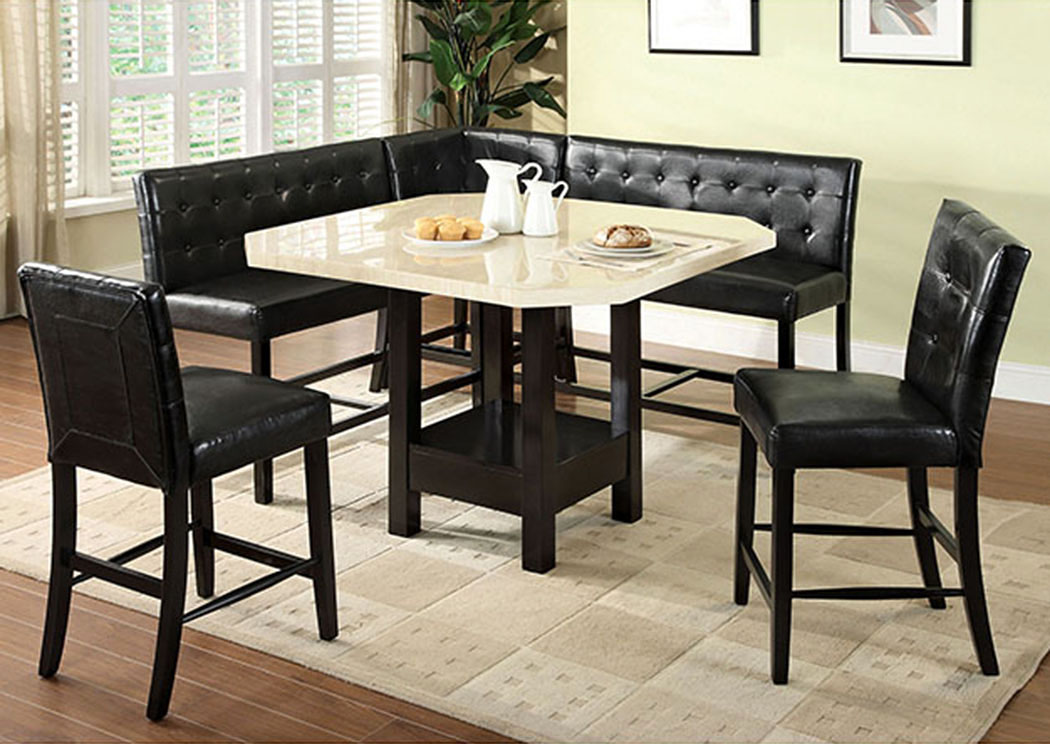 Bahamas Black Faux Marble Counter Height Table,Furniture of America