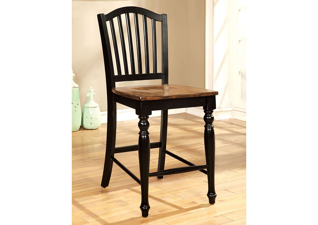 Mayville II Black/Antique Oak Counter Height Chair (Set of 2),Furniture of America