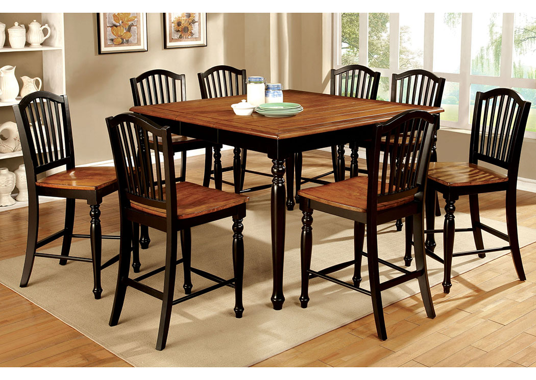 Mayville II Black/Antique Oak Counter Height Table w/8 Counter Height Chairs,Furniture of America