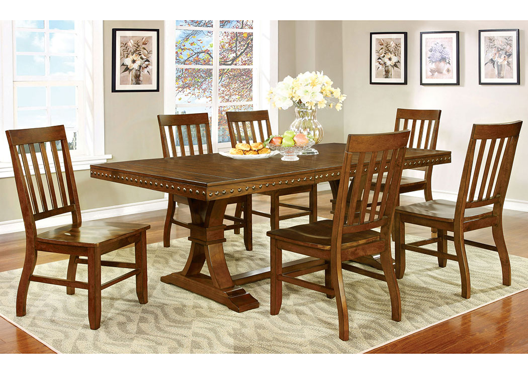 Foster I Dark Oak Extension Leaf Dining Table w/6 Side Chairs,Furniture of America TX