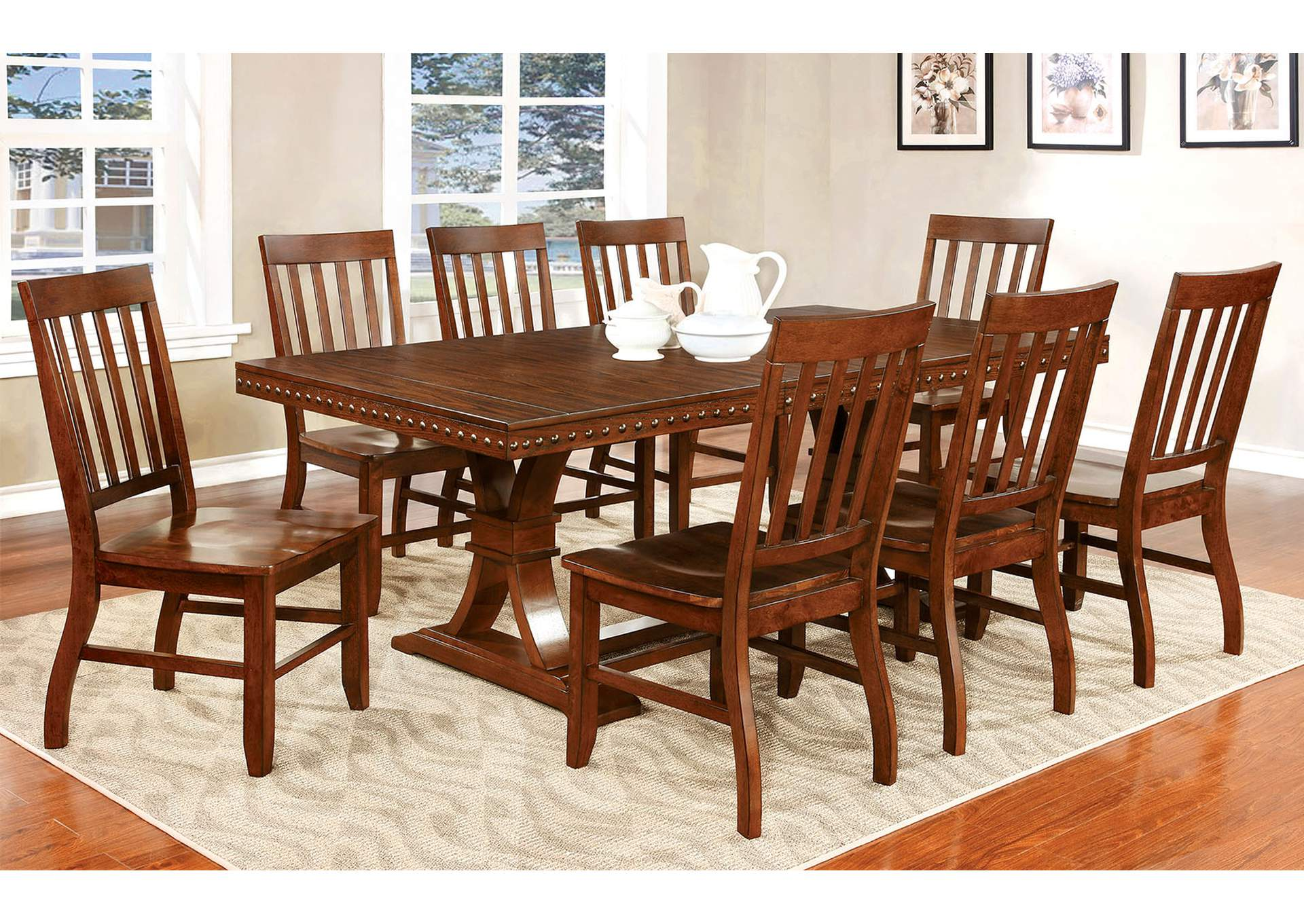 Foster I Dark Oak Extension Dining Table w/8 Side Chairs,Furniture of America