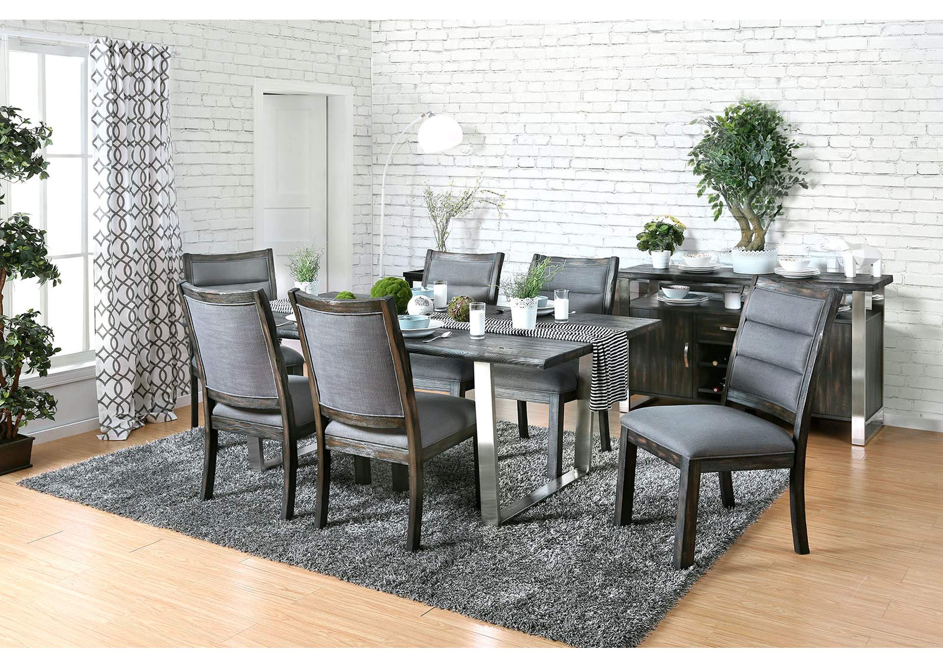 Mandy Antique Gray Dining Table,Furniture of America