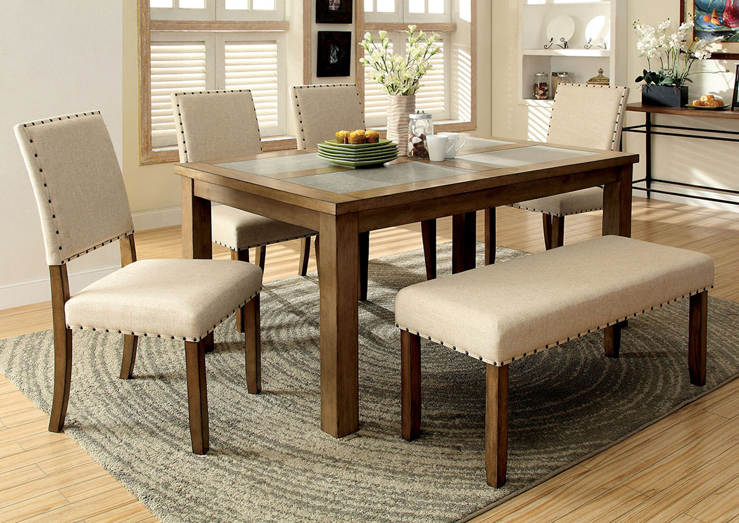 Melston L Ivory Flax Fabric BenchFurniture Of America