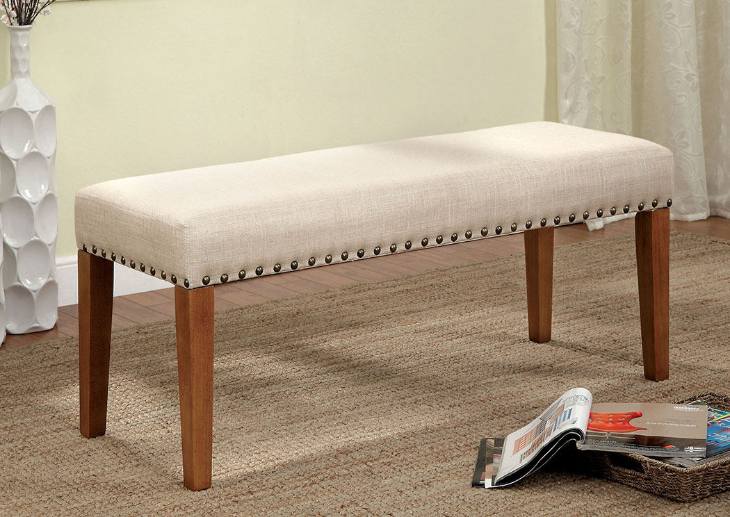 King of Chairs Walsh Fabric Bench w/Nailhead Trim
